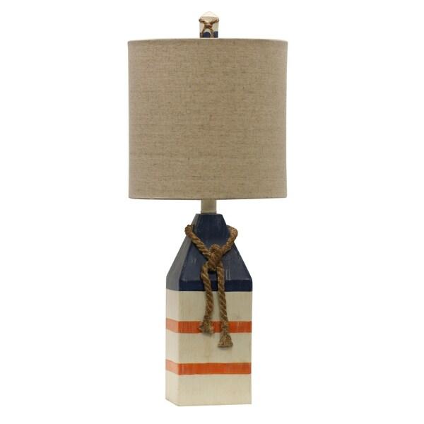 StyleCraft Blue And Orange Stripe Table Lamp - White Hardback Fabric Shade