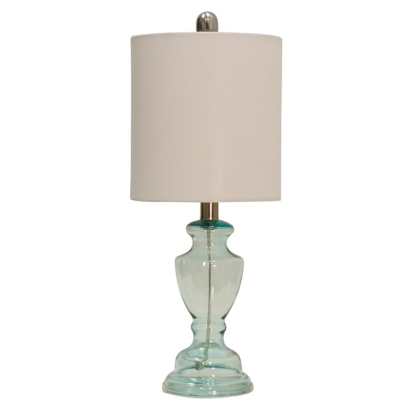 Blue Table Lamp - Off-white Hardback Fabric Shade