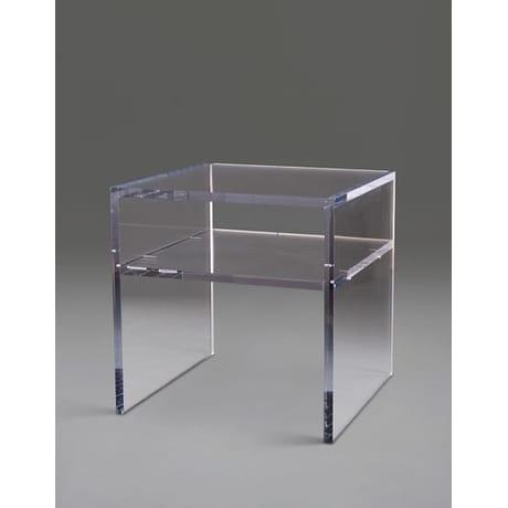 Boda Acrylic Cube Table With Shelf