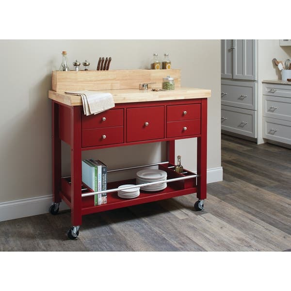 Shop Country Kitchen Island With Caster Wheels Overstock 20875127