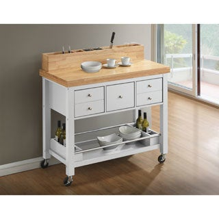 Country Kitchen Island with Caster Wheels