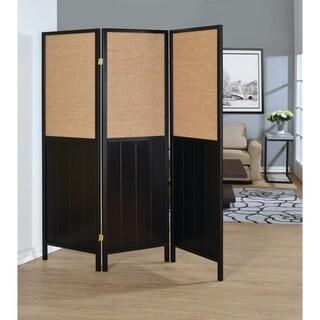 Traditional Black 3-panel Folding Screen
