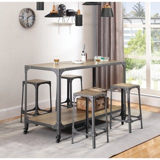 Industrial Metal Kitchen Island with Caster Wheels