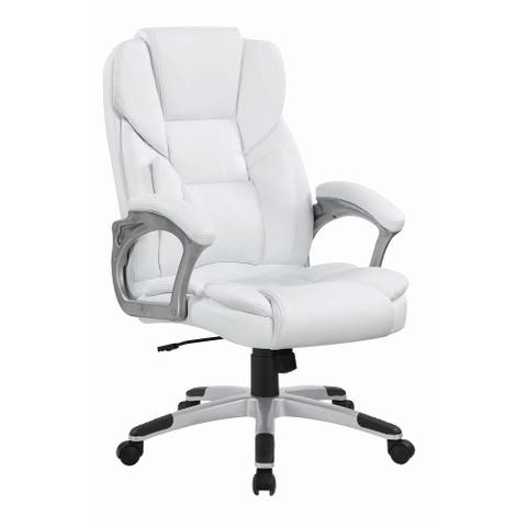 """Casual White Faux Leather Office Chair - 26"""" x 28.75"""" x 43"""""""