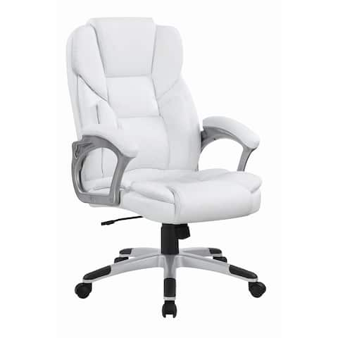 "Casual White Faux Leather Office Chair - 26"" x 28.75"" x 43"""