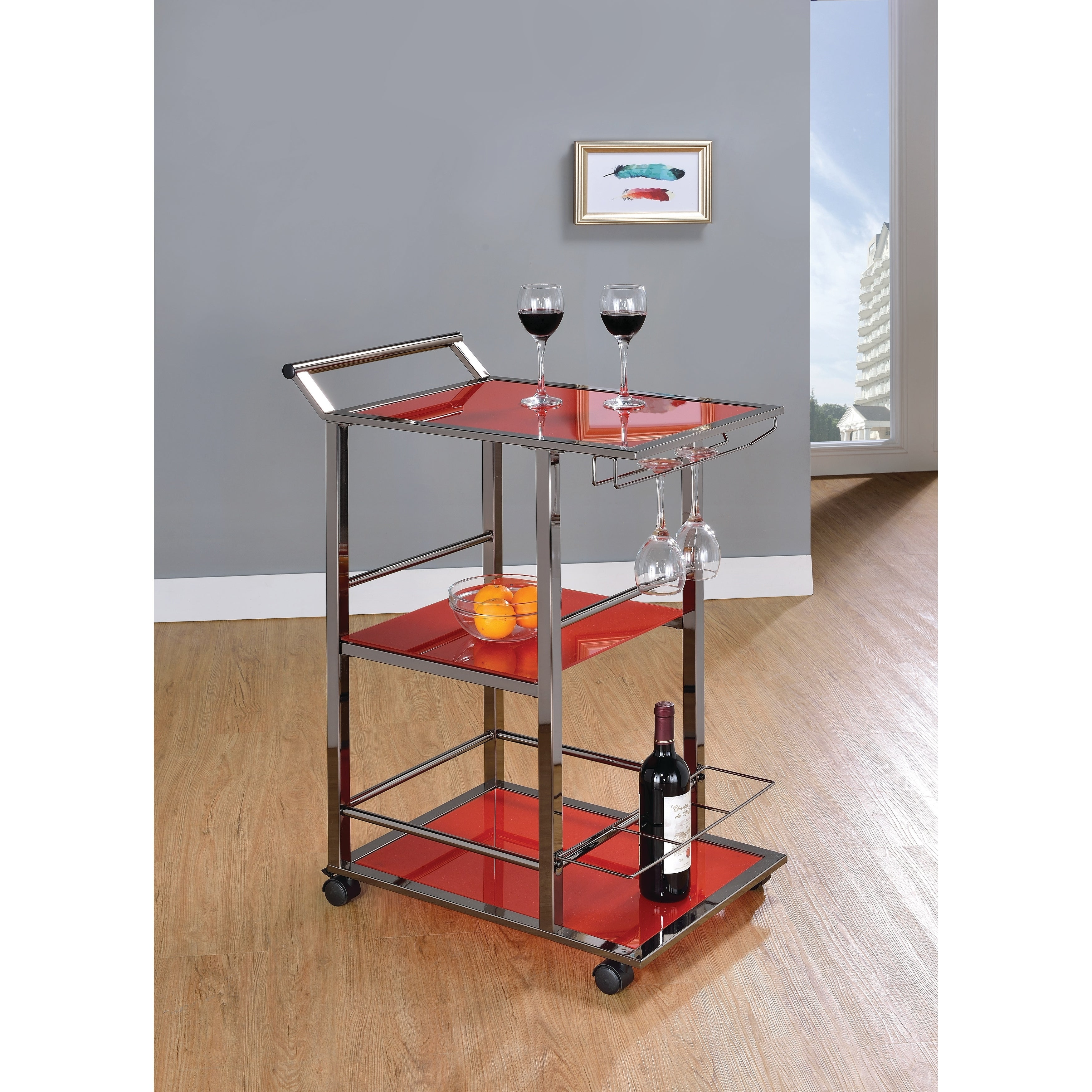 Shop Simple Living Rolling Galvin Microwave Cart: Shop Industrial Red Serving Cart
