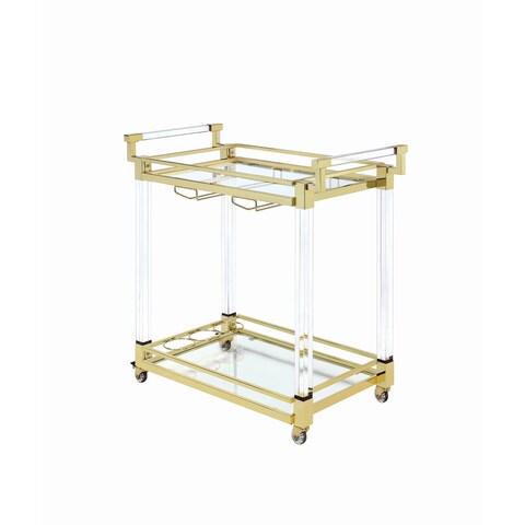 Modern Clear Glass Serving Cart