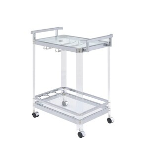 Oliver & James Roslin Clear Acrylic and Chrome Serving Cart