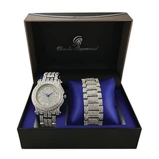 Bling Bling Ice'd Out Watch and Matching Bracelet Mens Hip Hop Rapper's Silver Tone Simulated Diamond Watch & Bracelet Gift Set