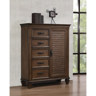 Franco 5-drawer Chest with Louvered Panel Door