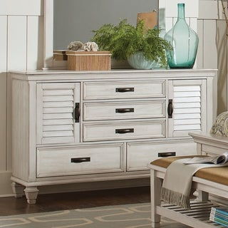 Franco Antique White 5-drawer Dresser with Louvered Panel Doors