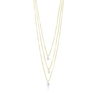 Gold Plated Crystal Triple Strand Necklace