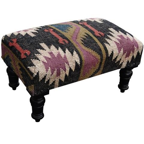 Handmade Herat Oriental Tribal Kilim Upholstered Footstool (India)