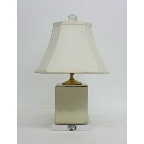 Cream Crackle Box Porcelain Table Lamp on Crystal Base