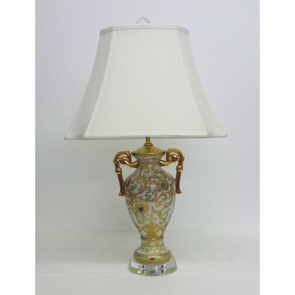 Cream & Gold Scrolls Trophy Vase Porcelain Lamp with Crystal Base