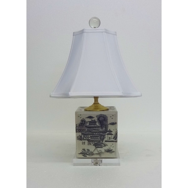 Gray Pagoda Box Porcelain Table Lamp
