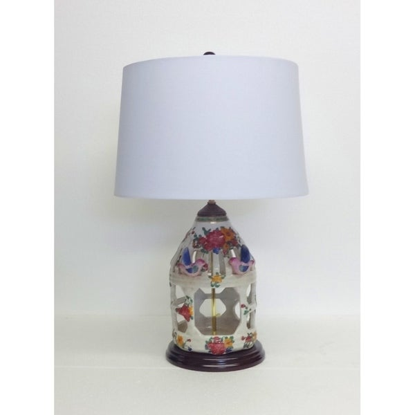 Spring Blooms Porcelain Birdcage Table Lamp