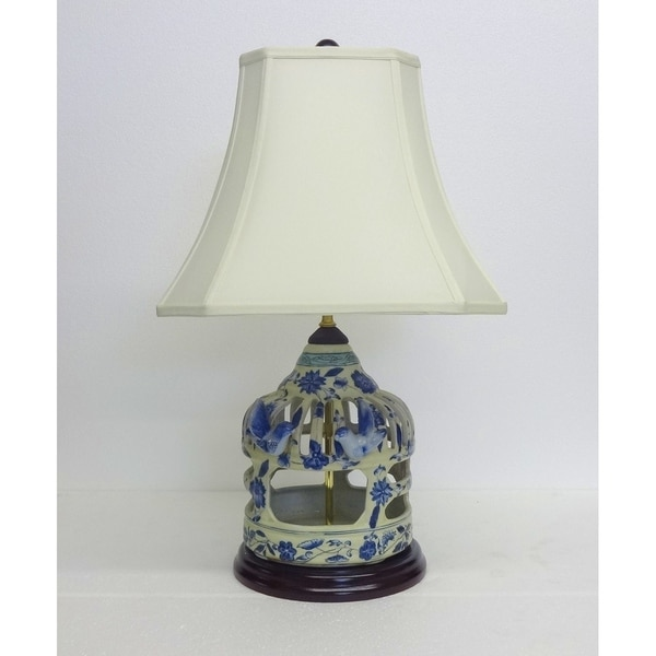 Floral Vine Birdcage Blue and White Porcelain Table Lamp