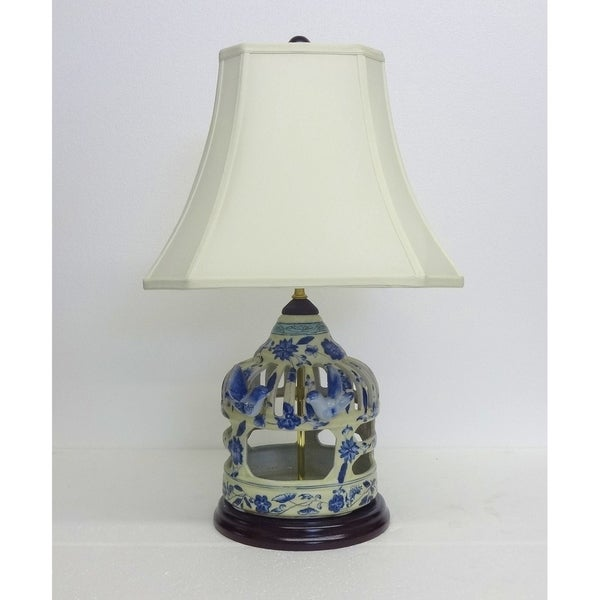 Fl Vine Birdcage Blue And White Porcelain Table Lamp