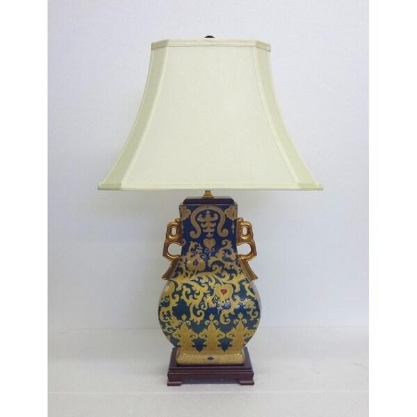 Royal Green Scrolls Gourd Porcelain Table Lamp