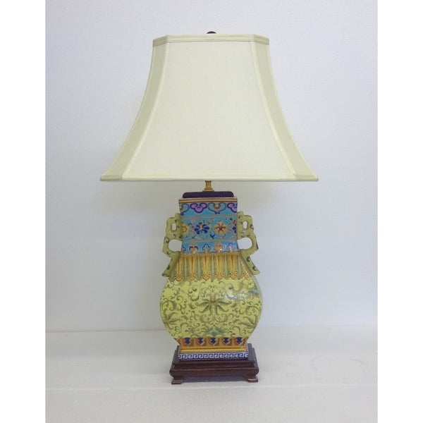 Yellow-Turquoise Empress Gourd Porcelain Table Lamp