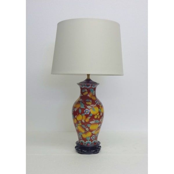 Peaches Fishtail Vase Porcelain Table Lamp