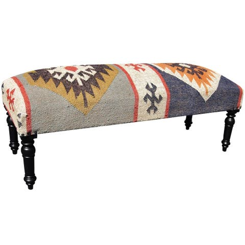 "Handmade Indo Wool and Jute Upholstered Wooden Bench (India) - 48"" x 16"" x 18"""
