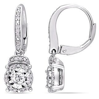 Miadora Signature Collection Sterling Silver 1/3ct TDW Diamond Cluster Halo and Rondelle Leverback Earrings