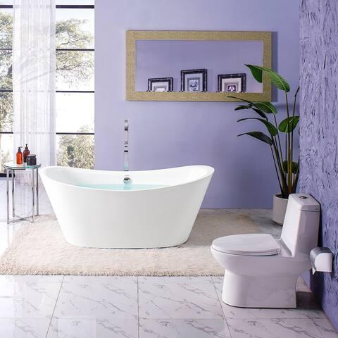Swiss Madison Ivy® Acrylic Double Slipper Freestanding Bathtub