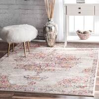 nuLOOM Pink Vintage Persian Medallion Square Area Rug - 8' x 8' Square