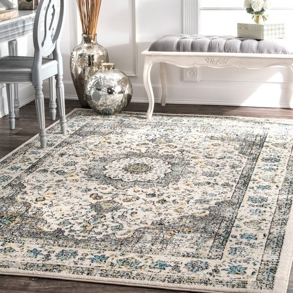 The Gray Barn Grey Radovan Traditional Persian Vintage Square Area Rug - 8' Square