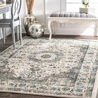 Maison Rouge Grey Radovan Traditional Persian Vintage Square Area Rug - 8' x 8' Square