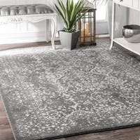 Maison Rouge Hayley Silver Vintage Floral Ornament Area Rug - 8' x 8'