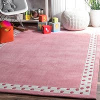 nuLoom Pink Modern Solid Dotted Border Kids Handmade Area Rug (5' Round)