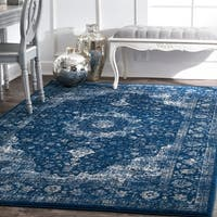Maison Rouge Dark  Blue Khalil Traditional Persian Vintage Square Area Rug - 8' x 8' Square