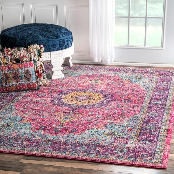 Maison Rouge Pink Roya Traditional Persian Vintage Fancy Area Rug - 5' x 5' square
