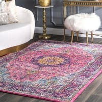 Maison Rouge Pink Roya Traditional Persian Vintage Fancy Square Area Rug - 5' x 5' square