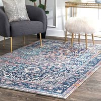 nuLOOM Blue Distressed Vintage Faded Floral Area Rug - 8' x 8' Square
