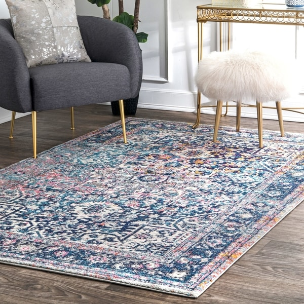 nuLOOM Blue Distressed Vintage Faded Floral Square Area Rug - 8' x 8' Square