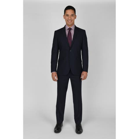 """KC Technicole Navy Shadow Check Suit with 32"""" inseam"""