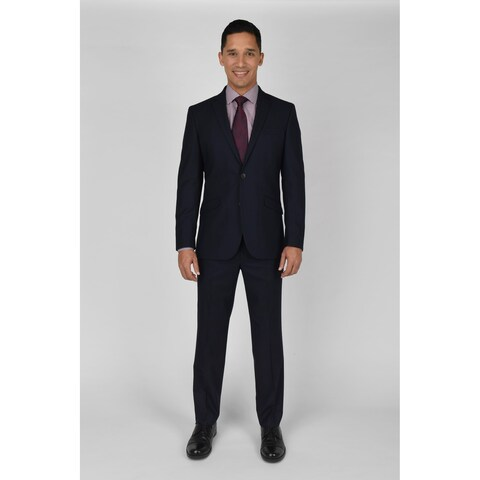 "KC Technicole Navy Shadow Check Suit with 32"" inseam"