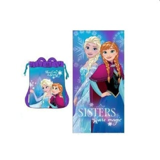 Frozen Girls Beach Towel in Mesh Backpack