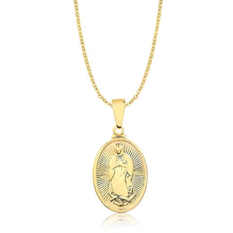 Gold Plated Guadalupe Medallion Pendant Necklace