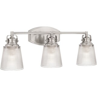 Quoizel Trade Clear Halophane Glass 3-light Bathroom Vanity Light