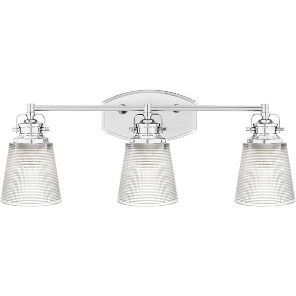 Shop Copper Grove Baraga Clear Halophane Glass Light Bathroom - Copper bathroom light fixtures