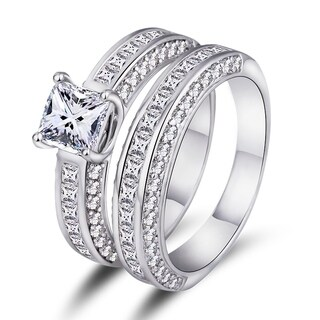 White Gold Plated Cubic Zirconia Princess-Cut Double Band Engagement Ring Set (More options available)