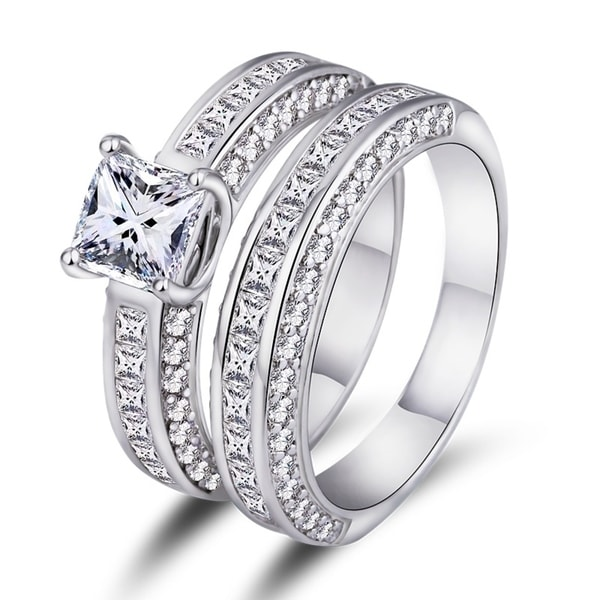 White Gold Plated Cubic Zirconia Princess Cut Double Band Engagement Ring Set