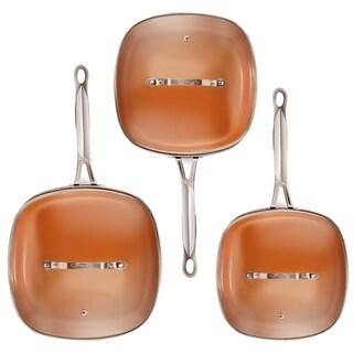 Gotham Steel Nonstick Copper 6 Piece All Square Shallow Fry Pan Set with Lids As Seen On TV