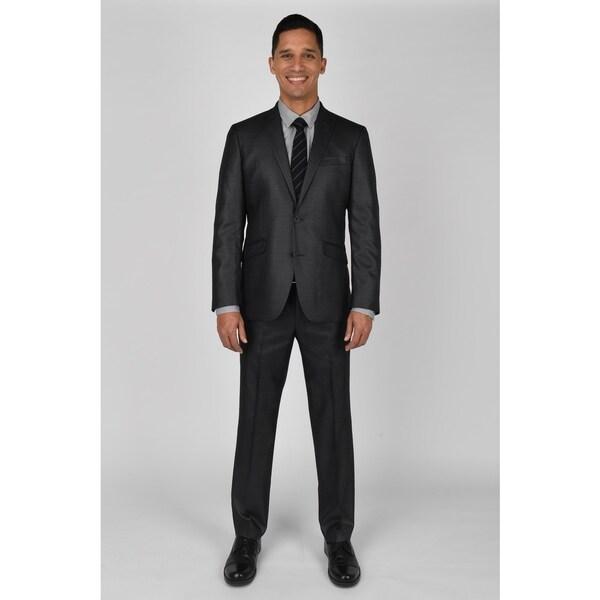 "KC Technicole Gunmetal Grey Basketweave Suit with 32"" inseam. Opens flyout."