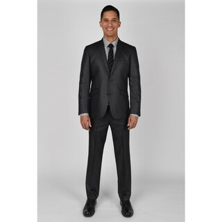 "KC Technicole Gunmetal Grey Basketweave Suit with 32"" inseam"